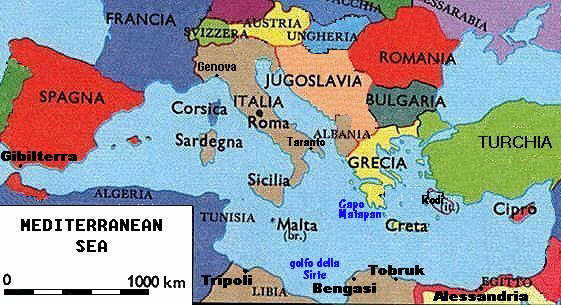 Italian Royal Navy in World War Two: Mediterranean Sea Map